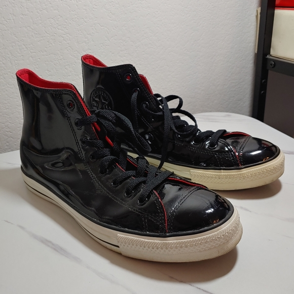 CONVERSE ALL STAR Black Patent 11.5 High Tops